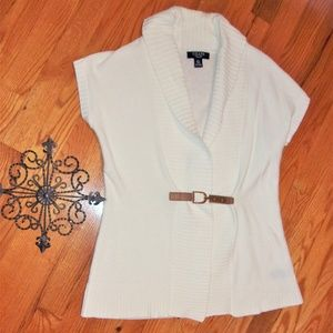 chaps ps small woman sweater vest long white top